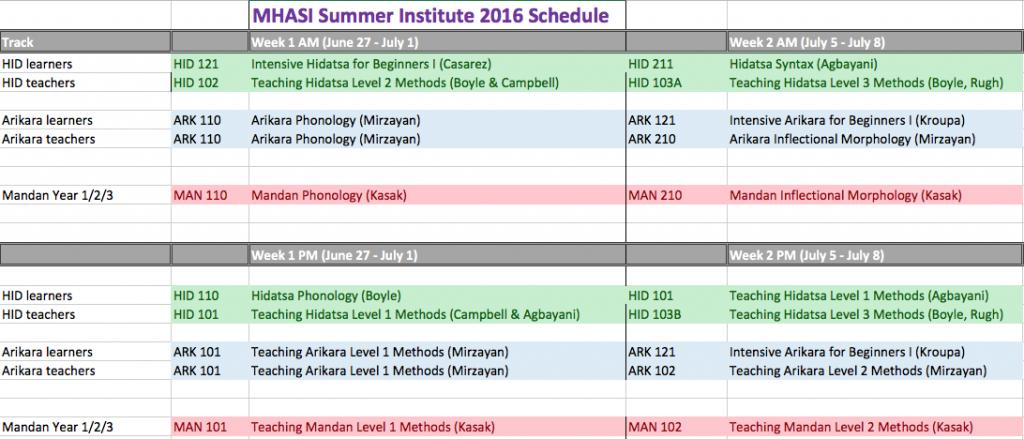 MHASI schedule for RegOnline